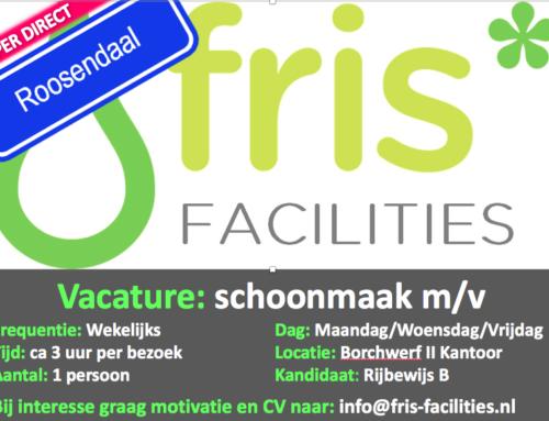 Vacature: Schoonmaakster Kantoren Roosendaal (12-16 u p.w.)